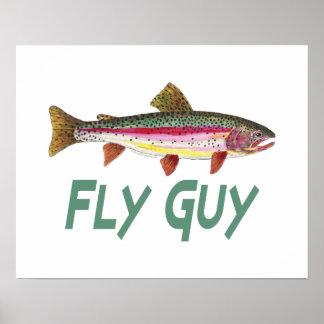 Regenbogenforelle-Fliegen-Fischen Poster