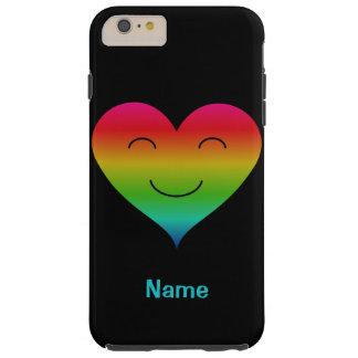 Regenbogenherz-smiley-individueller Name Tough iPhone 6 Plus Hülle