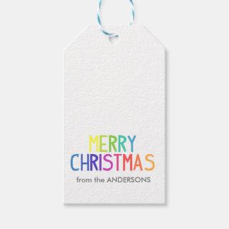 Regenbogenskript der frohen Weihnachten Geschenkanhänger