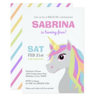 Regenbogenunicorn-Kindergeburtstag-Party Einladung