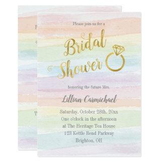 Regenbogenwatercolor-Brautparty mit Gold Karte