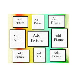 Regenbogenwatercolor-Foto-Collage personalisiert Leinwanddruck