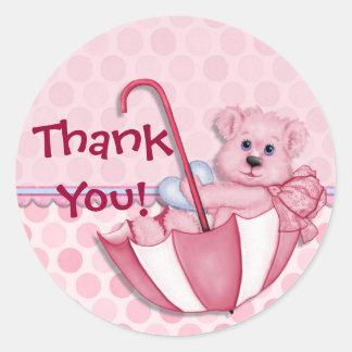 Regenschirm-Bärn-Rosa-Baby danken Ihnen Runder Aufkleber