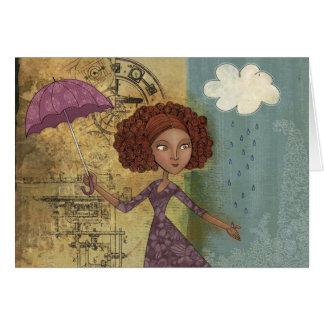 Regenschirm-Mädchen-wunderliche Karte
