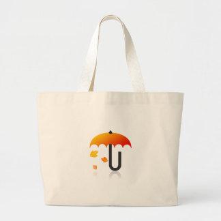 Regenschirm und Blätter Jumbo Stoffbeutel