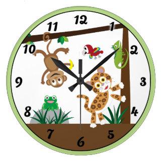 Regenwald-Dschungel-Uhr Große Wanduhr