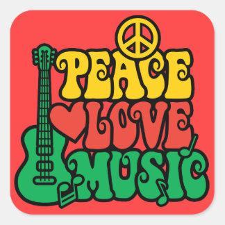 Reggae-FriedensLiebe-Musik Quadrat-Aufkleber