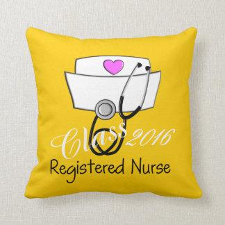 Registrierte Krankenschwester-Abschluss-Gelb 2016 Kissen