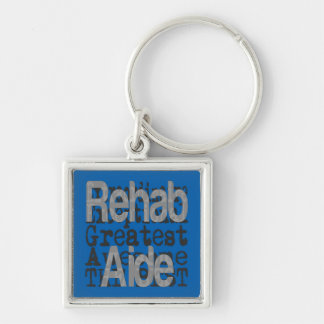 Rehabilitations-Berater Extraordinaire Silberfarbener Quadratischer Schlüsselanhänger