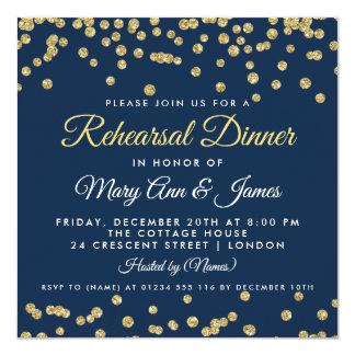 Rehearsal Dinner Gold Faux Glitter Confetti Navy Karte