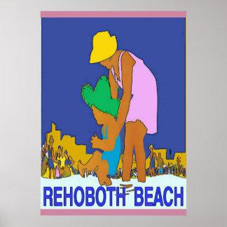 Rehoboth Strand-Kunst-Deko-Mamma-Kind Poster