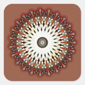 Reiche kupferne Mandala Quadratischer Aufkleber