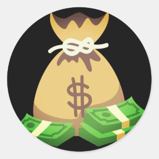 Reiche Tasche der Schwingungens-| des Geldes Emoji Runder Aufkleber
