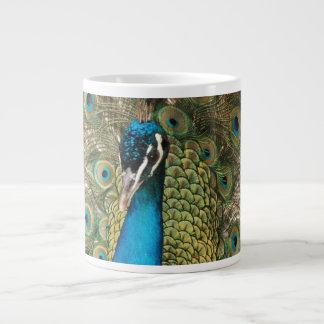Reiches FarbFoto des Pfau-Vogels Jumbo-Tasse