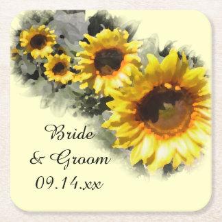 Reihe der gelben Sonnenblume-Garten-Hochzeit Rechteckiger Pappuntersetzer