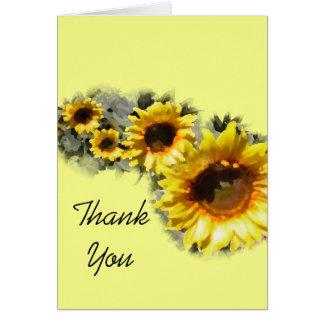 Reihe der gelben Sonnenblumen danken Ihnen Karte