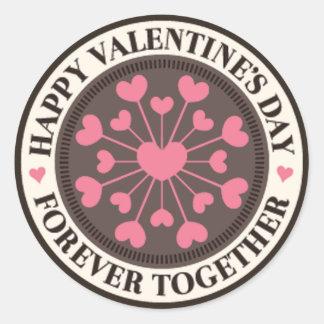 Reihe des Herz-für immer zusammen Valentinsgrußes Runder Aufkleber