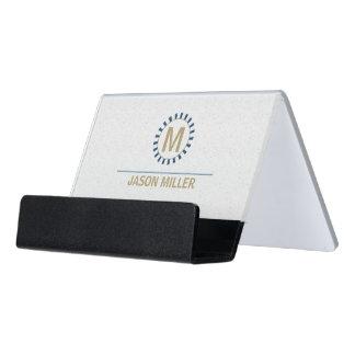Reihe und Linie Monogramm-berufliches Blau ID313 Schreibtisch-Visitenkartenhalter