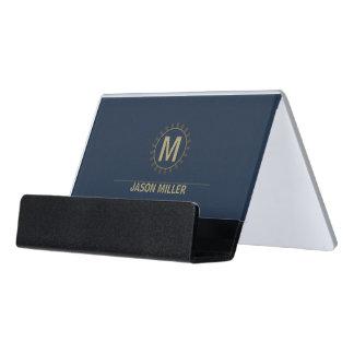 Reihe und Linie Monogramm-berufliches Gold ID313 Schreibtisch-Visitenkartenhalter