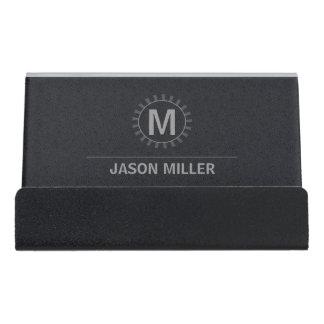 Reihe und Linie Monogramm-berufliches Silber ID313 Schreibtisch-Visitenkartenhalter