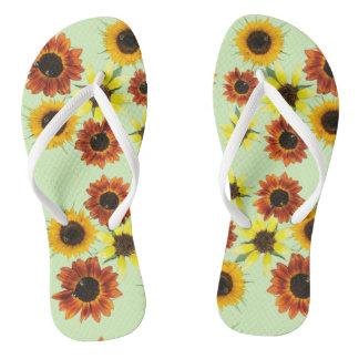 Reihen-bunte Sonnenblume-Blumen-Purzelbäume Flip Flops