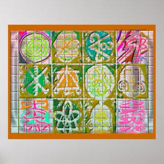 REIKI Karuna: Vintage Art-Kunst-Symbole Poster