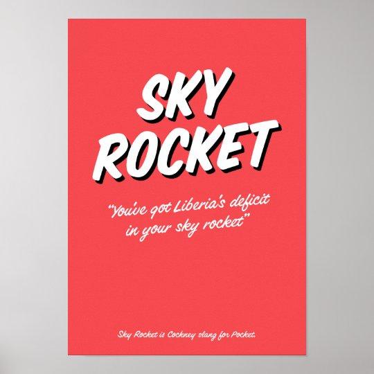 Reimendes Jargonplakat Himmel-Rocket-Cockneys Poster