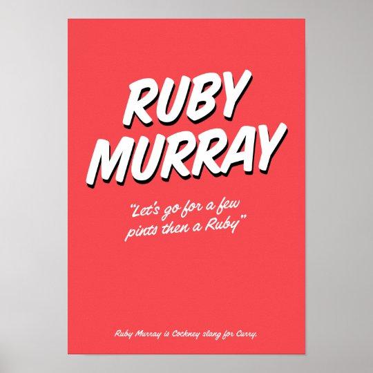 Reimendes Jargonplakat karminroten Murray-Cockneys Poster