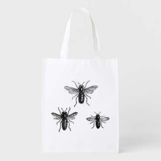 Reine des abeilles vintage et illustration cabas épicerie