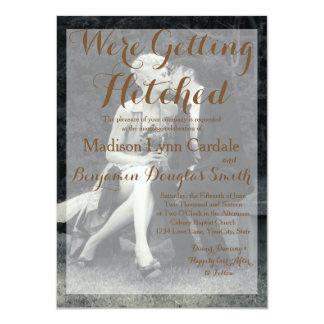 Reines Eleganz-Foto-Schwarzweiss-Hochzeit 11,4 X 15,9 Cm Einladungskarte