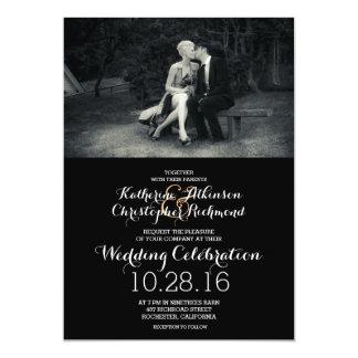 Reines Eleganz-Foto-Schwarzweiss-Hochzeit 12,7 X 17,8 Cm Einladungskarte