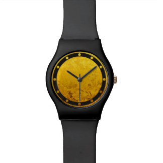 REINES GOLDmuster/Goldblatt Armbanduhr