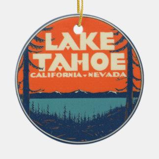 Reise-Abziehbild-Entwurf Lake Tahoe Vintager Keramik Ornament