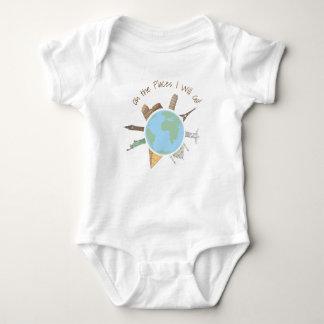 Reise-Baby-Kleidung oh die Plätze gehe ich Baby Strampler