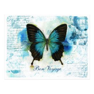 Reise-blauer Schmetterling VictorianTravel Postkarte