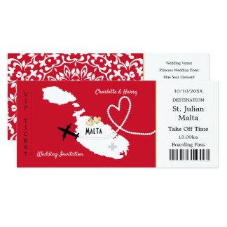 Reise-Karten-Boarding-Durchlauf-Malta-Hochzeit Karte
