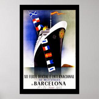 Reise-Plakat Vintages Barcelona Spanien