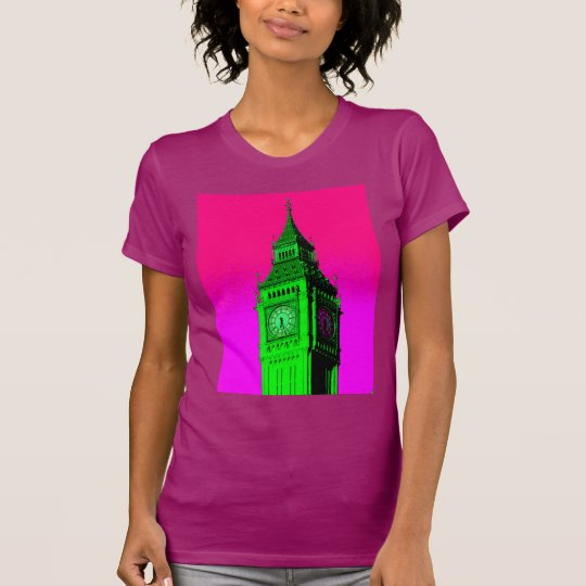 Reise-Rosa-Grün Pop-Kunst-Big Ben London T-Shirt