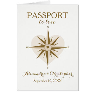 Reise-Thema gefaltete Pass-Einladung Mitteilungskarte