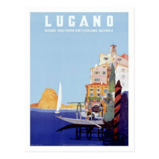 Reise Vintagen Lugano, die Schweiz Postkarte