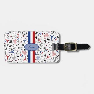 Reisen Sie nach Frankreich, französische Ikonen Gepäckanhänger