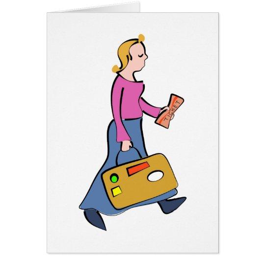 Reisende Frau Grußkarte