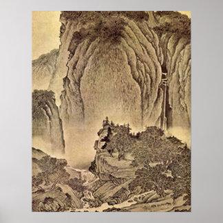 Reisende in den Bergen durch Fan Kuan Poster
