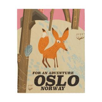 Reiseplakat Fuchses Oslos Norwegen Vintages Holzdruck