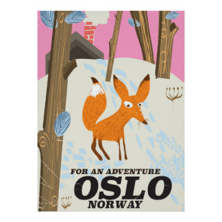 Reiseplakat Fuchses Oslos Norwegen Vintages Poster