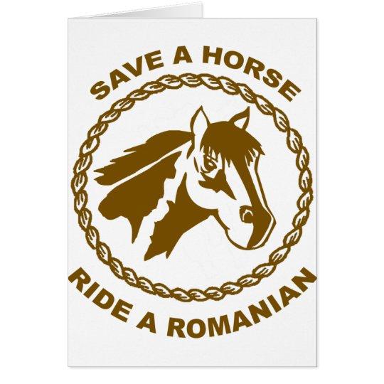 Reiten Sie einen Rumänen Grußkarte
