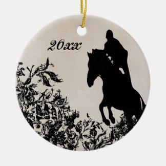 Reiterpferdespringen des personalisierten Paares Keramik Ornament