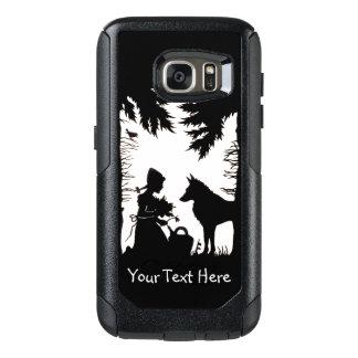 Reithaube im Holz-Wolf, der Blumen hält OtterBox Samsung Galaxy S7 Hülle