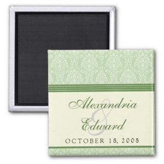 Reizend Damast-Gastgeschenk Hochzeits-Magnet: Grün Quadratischer Magnet