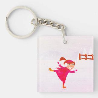 Reizend Eis-Skatenmädchen: mit Rosa Beidseitiger Quadratischer Acryl Schlüsselanhänger